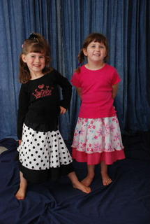 Cayley & Hannah modelling the summer skirts
